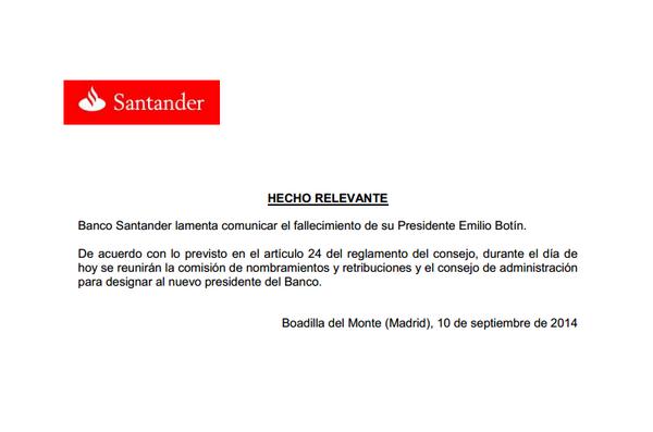 Comunicado del fallecimiento de Emilio Botín